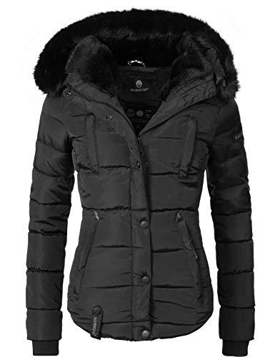Marikoo Damen Winter Jacke Steppjacke Lotusblüte (vegan hergestellt) Schwarz Gr. XL