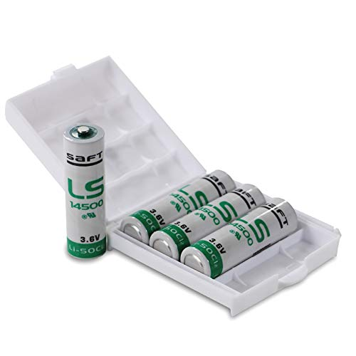 4X Saft LS14500 Batterie AA Industriezelle Lithium-Thionylchlorid, 3.6V Mignon in Batteriebox von Weiss - More Power + 6-volt-lithium-batterie