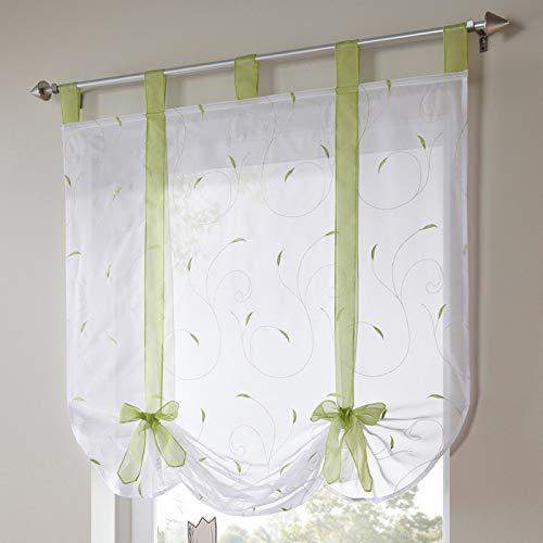 3CLifewaren Sheer Liftable Organza bestickte Küchenvorhänge für römische Fenster 140 * 100CM grün
