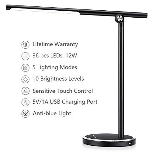 FGART LED Schreibtischlampe Metall Augenschutz Tischlampe Stufenloses Dimmen Und 5 Farbtemperaturen USB-Ladeanschluss 5V 1A 1 Stunde Automatischer Timer Ultradünne Alu Klapptischlampe