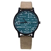 RIsxffp Fashion Men Chronograph Waterproof Faux Leather Band Geometric Equation Analog Quartz Couple Wrist Watch green+army green