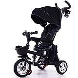 Kinderwagen 4 in 1 Kinder-Klapprad 12 Monate bis 6 Jahre 360   ° drehbarer Sattel blockierbare Hinterräder Kinder-Dreirad Klappsonnenverdeck verstellbarer Lenker Kind Trike maximales...