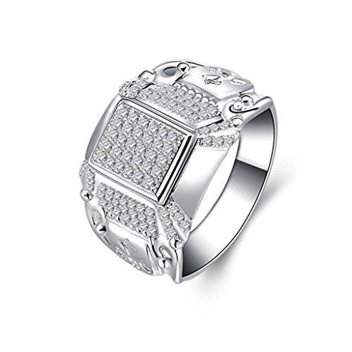 Anyeda Silberring Damen Ornament Ringe Quadrat Cz Pflastern Silber Ringgröße 58 (18.5) -
