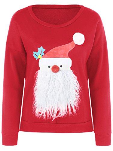 Bfustyle donne Babbo Natale Stampa girocollo manica lunga Pullover Felpa rossa