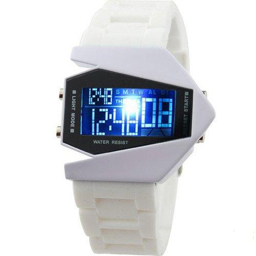 Reloj unisex digital LED deportivo impermeable correa de silicona colour azul y blanco