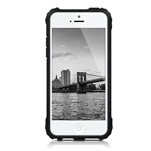 kwmobile Hülle für Apple iPhone SE / 5 / 5S - Hybridhülle Dual Case Handy Schutzhülle TPU Silikon - Hybrid Cover Neon Grün Schwarz Transformer Anthrazit Schwarz