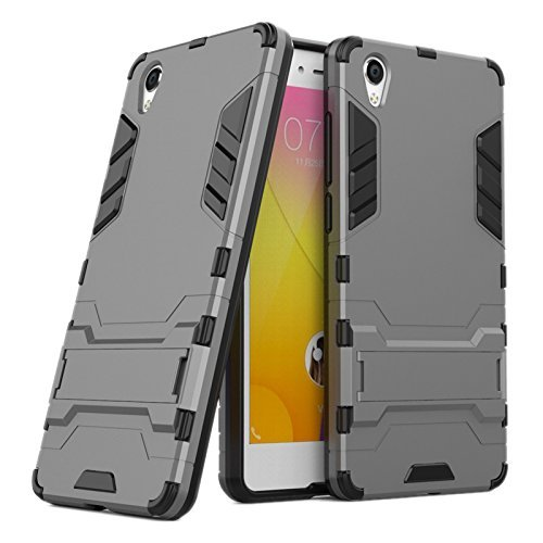 ANVIKA Shockproof Military Grade Armor Series Dual Layer Protection With Hybrid Kickstand Back Case for Vivo Y51 / Vivo Y51L [Metal Grey]