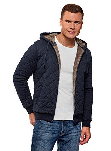 Oodji ultra uomo giubbotto in maglia con cappuccio, blu, it 56-58 / eu 58-60 / xxl