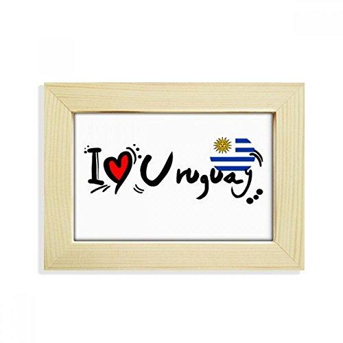 DIYthinker I Love Uruguay Wort Flagge Love Herz Illustration Desktop Holz Bilderrahmen Art Malerei 12,7x 17,8cm
