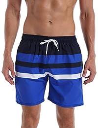 QRANSS Mens Waterproof Striped Swim Trunks Lightweight Quick Dry Beach Shorts
