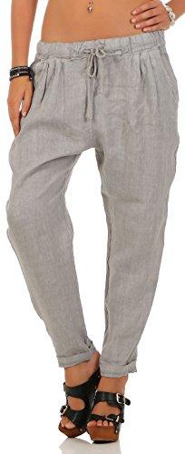 Malito Damen Hose aus Leinen | Stoffhose in Unifarben | Freizeithose für den Strand | Chino - Jogginghose 6816 (hellgrau, S)