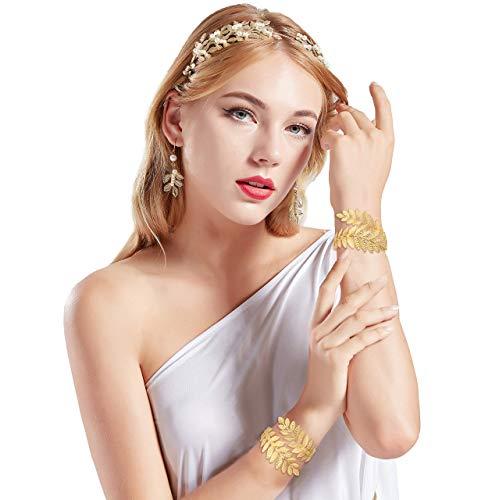 Griechische Göttin Haar Kostüm - Coucoland Athene Kostüm Zubehör Set Damen Blatt Stirnband Haarreif Perlen Ohrringe Gold Spule Armband Exotisch Damen Göttin Fasching Kostüm Accessoires