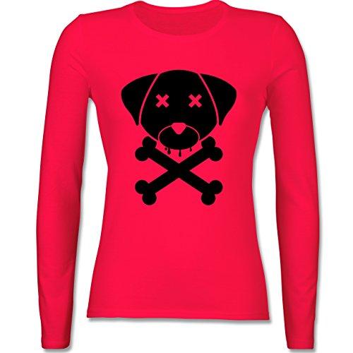 Hunde - Hund Skull - tailliertes Longsleeve / langärmeliges T-Shirt für  Damen Rot