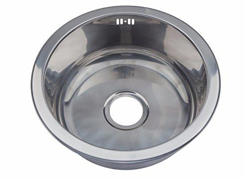 Lavandino in acciaio INOX a incasso, per cucina, con kit per rifiuti ...