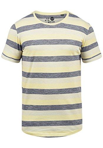 !Solid Thicco Herren T-Shirt Kurzarm Shirt Mit Streifen Und Rundhalsausschnitt 100% Baumwolle, Größe:M, Farbe:Mellow Yellow (1005) (T-shirt Streifen)