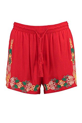 Damen Tomate Jenny Bestickte Shorts Mit Fransen Und Bindung Tomate
