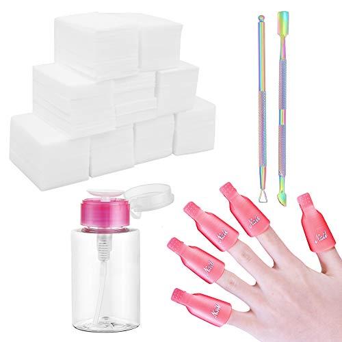 Kit de dissolvant de vernis à ongles gel, 600 tampons en coton lingette, 10 pinces à ongles, pousse-cuticules triangulaire, coupe-cuticules avec pompe à poussoir