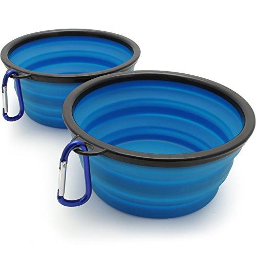 igadgitz Home Plegable Silicona Comedero para Perro Portatíl Alimentos Agua Viajes Plato para Mascota - 2 X Negro