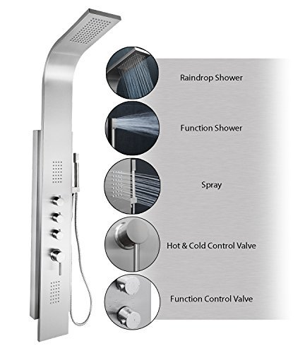 AKDY AZ-9878B 58 Rainfall Shower Panel Tower System with Simultaneous Overhead Rainfall, Body Massage Jets and Handheld Shower, Stainless Steel by AKDY