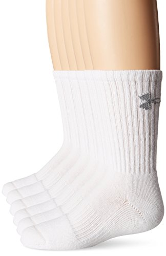 Under Armour Jungen Sportswear Socken UA Charged Cotton Crew 6pk Socken & Strümpfe, White L