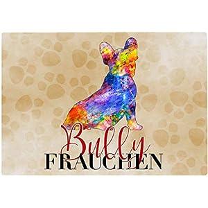 Cadouri Frühstücksbrettchen BULLY FRAUCHEN Glasschneidebrett Schneidebrettchen – 28,5 x 20 x 0,4 cm