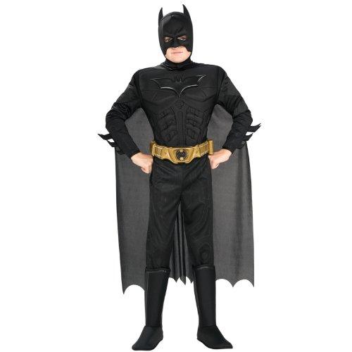Batman Dark Knight Rises - Kinderkostüm mit Muskeln, 4-teilig, günstiges Fasching Comic Kostüm - S (Batman Kostüme Mit Muskeln)