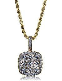 409bb215a9a4 MKHDD Personalidad Unisex Cadena Chapada En Oro Cadena De Hip Hop Cristal  De Circón Jiugongge Collar Colgante para Hombres…