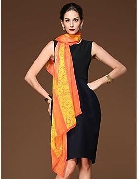 Mujer&Rojo Amarillo 100%Chiffon de seda bufanda larga