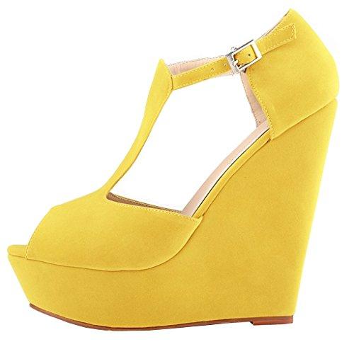 Planalto Amarelo Faux 010 Y Cunha Merumote Camurça Peep T strap Mulheres Toe Sandálias gzvwqWH