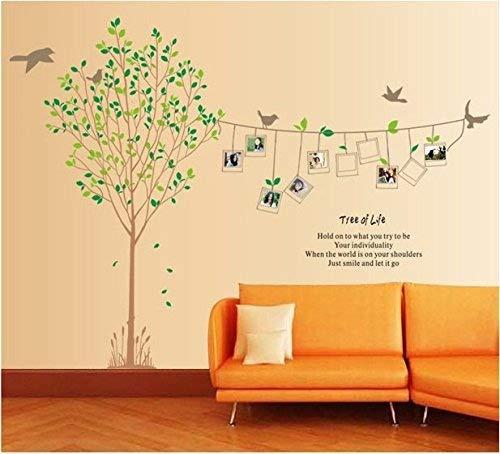 Rainbox Fox Großes Wandtattoo mit Baum- und Vogelmotiv mit acht Bilderrahmen, 180 x 250 cm, Schwarz LIFE FRAME TREE