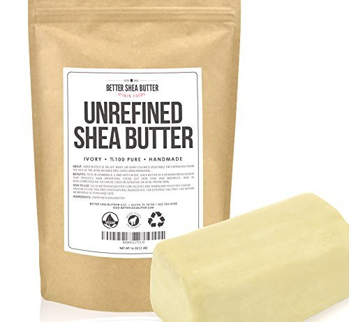 Unrefined Shea Butter by Better Shea Butter - African, Raw, Pure - Use Alone or in DIY Body Butters, Lotions, Soap, Eczema & Stretch Marks Products, Lotion Bars, Lip Balms and More! - 1 lb (16 oz) by Better Shea Butter -