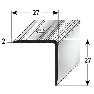 Aluminium Treppenwinkel-Profil - 135cm, 27x27mm, silber ✓ Rutschhemmend ✓ Robust ✓ Leichte Montage   Treppenkanten-Profil, Treppenstufen-Profil aus Alu   Gelochtes Stufenkanten-Profil, Treppenprofil   Treppenkantenschutz für Laminat, Teppich…