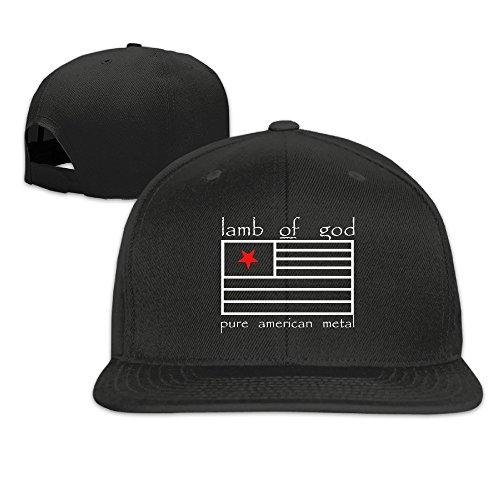 Brim Fitted Cap (Hittings HEIYALA Lamb Of God Band Fitted Flat Brim Baseball Cap Hat Black)