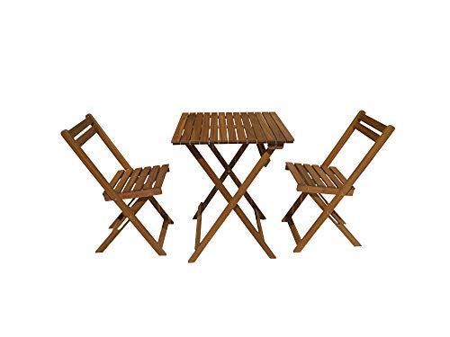 KitGarden Porto Balkon-Set, zusammenklappbar, 1 Tisch + 2 Stühle aus Naturholz