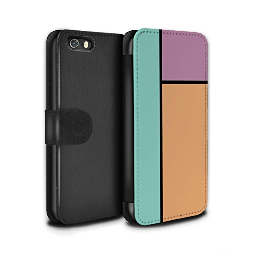 Stuff4 Coque/Etui/Housse Cuir PU Case/Cover pour Apple iPhone SE / 5 Carreaux/Turquoise Design / Carreaux Pastel Collection 3 Carreaux/Orange