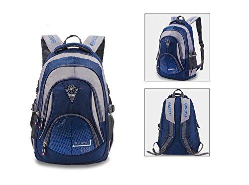 Leefrei Schulrucksack Schulranzen Schultasche Sports Rucksack Freizeitrucksack Daypacks Backpack für Mädchen Jungen & Kinder Damen Herren Jugendliche mit der Großen Kapazität (Vintag-Blau2) - 2