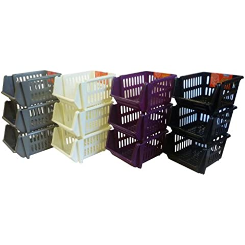 Plastic Stacking Stackers Storage Baskets Veg Rack 3 Tier Vegetable 18cm (Red) - Great Stackable Storage by Homeware Needs