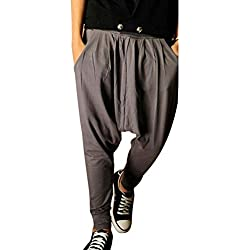 Minetom Hombres Pantalón Pantalones Harem Pantalones De Los Deportes Fitness Suelto Entrepierna Pantalones Gris Oscuro EU L