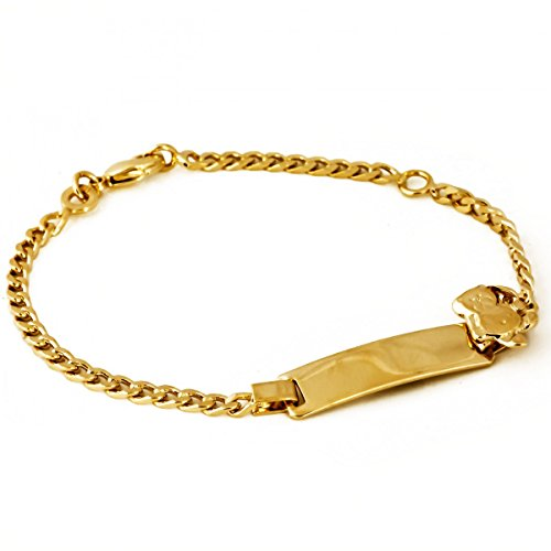 Isady - Teddy Gold - Armband Kinder Baby Junge Mädchen - 18 Karat (750) Gelbgold platiert - Gravur Kostenlos beidseitig - Teddybär - 16cm - Taufarmband - ID - Identitätsarmband