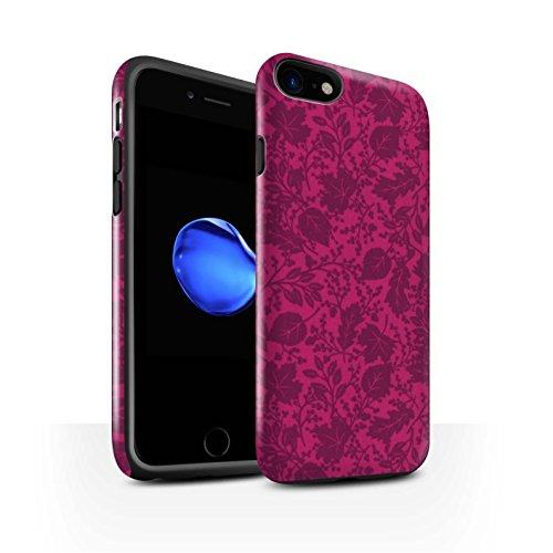 STUFF4 Glanz Harten Stoßfest Hülle / Case für Apple iPhone 8 / Orange Muster / Blatt/Silhouette Muster Kollektion Rosa