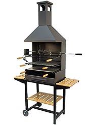 Imex el zorro M263232 - Barbacoa de carbon chimenea con ruedas - elevador y kit pollo 71554