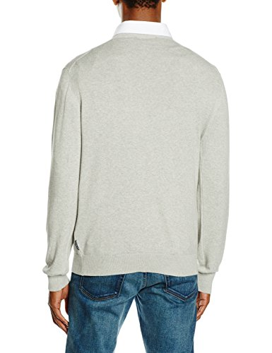 French Connection Herren Pullover Simple Cotton Knit Grau - Grey (Charcoal Melange)