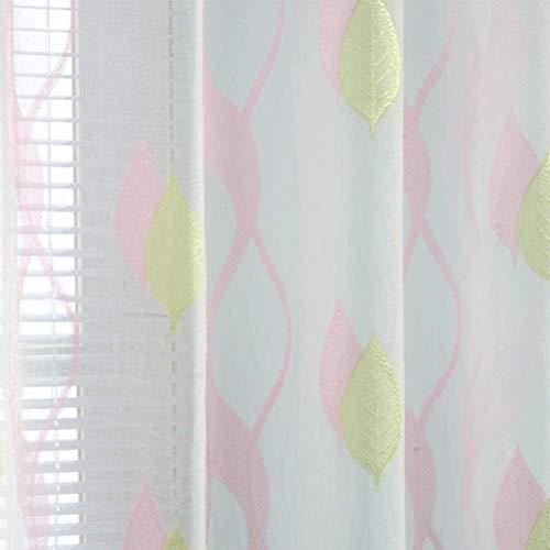 Blanc Brodé Rideau En Tissu De Tulle À Œillets Rideaux Voilage Pourle Salon Rideau De Rideau En Tissu De Tulle Pour Enfant En Chambre Salon,Pink,200 * 280