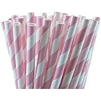 Toyonee Drinking Straws Paper Straws Striped Straws Color Caramelo para Fiestas Wedding Rainbow 19.7 cm (Rosa Blanco 25 Piezas)