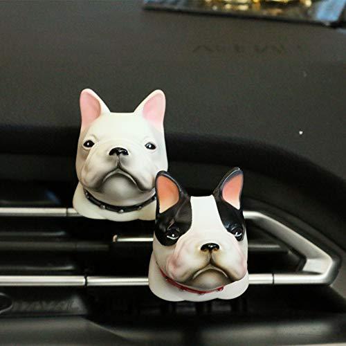 JenNiFer Auto Bulldog Parfüm Air Vent Mount Clip Lufterfrischer Duft Duft Auto Dekoration - weiß