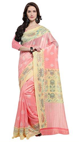 Rajnandini Women's Baby Pink Jute Silk Printed Saree