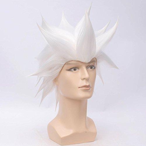 ATAYOU Kurze stilvolle synthetische Anime Cosplay Perücken für Männer und Jungen Halloween-Kostüm mit 1 Perücke Kappe (Weiß)