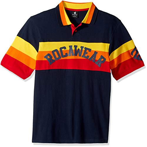 Rocawear Herren Short Sleeve Polo Poloshirt, Stage Time Navy, Mittel - Big And Tall Baumwolle Kleid Shirt