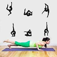 Arttop Yoga Wall Sticker Vinyl Yoga Poses Silhouette Wallpaper Woman Exercise Meditation Wall Decal for Yoga Studio or Home,Black