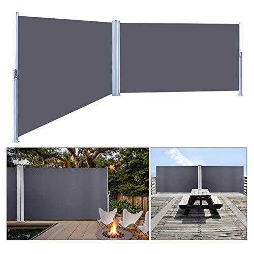 wolketon Doppelseitenmarkise ausziehbar -180 x 600 cm Anthrazit Seitenmarkise TÜV,geprüft UV,Reißfestigkeit,seitlicher Sichtschutz sichtschutz,für Balkon Terrasse ausziehbare markise